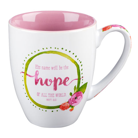 "Watercolor Collection Mug: ""His Name Will Be The Hope"" - Matthew 12:21"