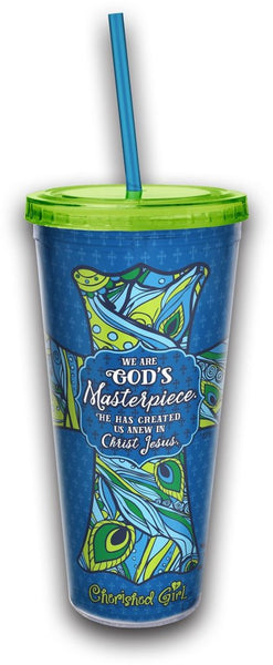 We Are God's Masterpiece Straw Tumbler