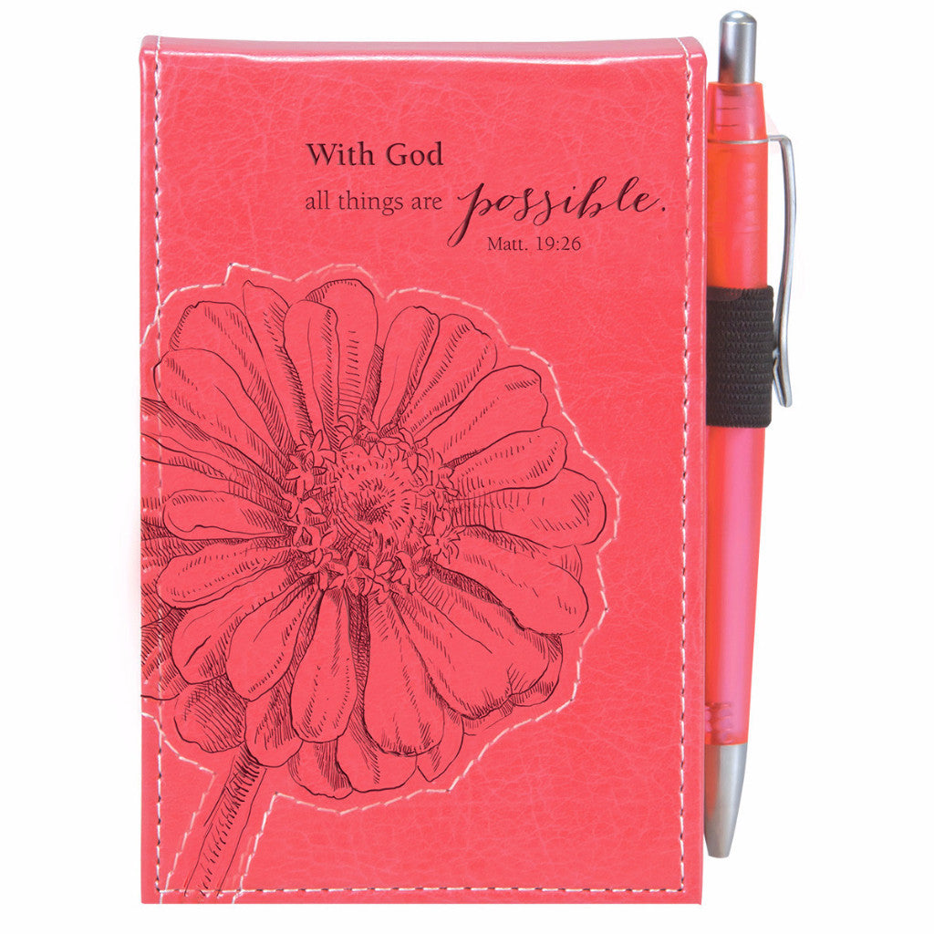 "Pink ""All Things Are Possible"" Pocket Notepad w/ Pen - Matthew 19:26"