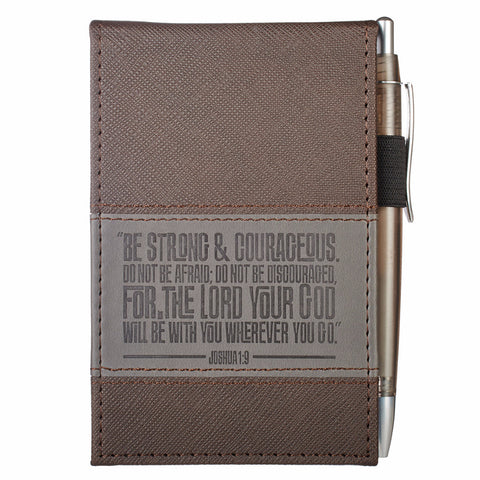 """Be Strong & Courageous"" Notepad with Pen - Joshua 1:9"