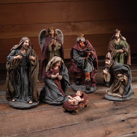 8 Piece Resin Christmas Nativity Set