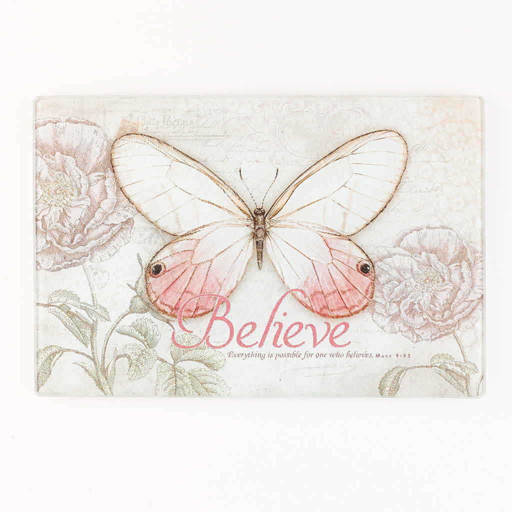 Butterfly Blessings Glass Cutting Board