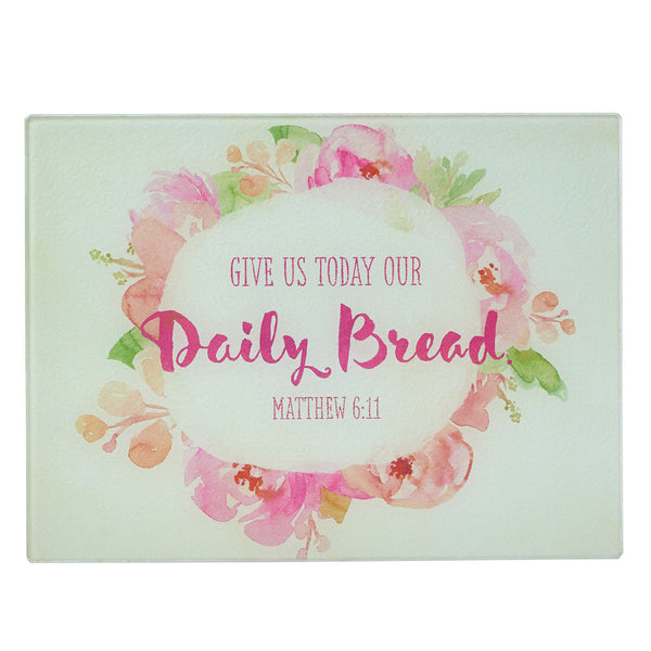 """Daily Bread"" Glass Cutting Board / Trivet Watercolor Collection"