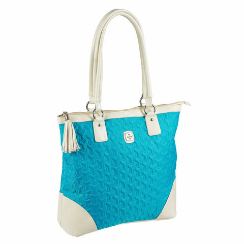 Quilted Nylon Tassel Zippered Purse (Teal)