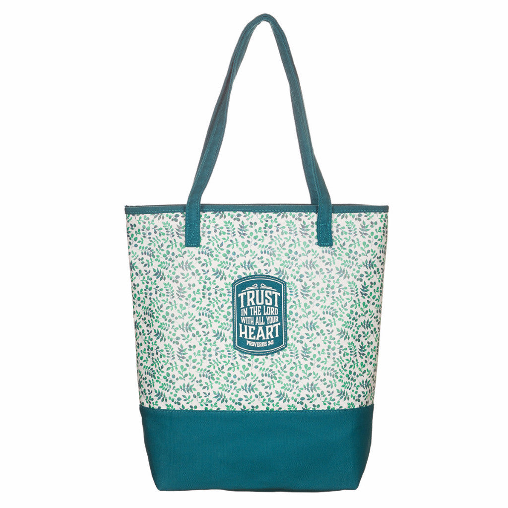 Teal Small Prints Canvas Purse - Proverbs 3:5