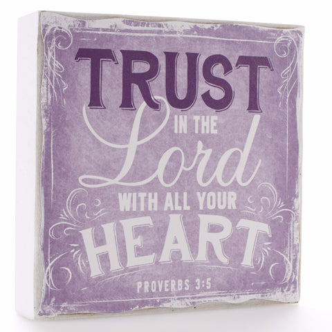 Small Wooden Wall Plaque - Finishing Strong Collection - Trust in the Lord