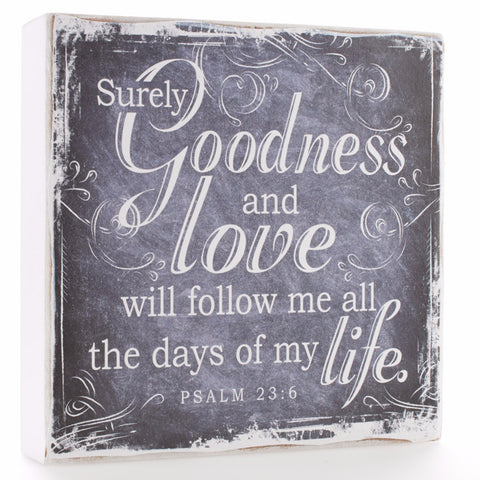 "Small Wooden Wall Plaque - ""Finishing Strong Collection:  Goodness & Love"