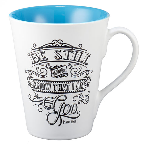 "Illustrated Scripture Mug: ""Be Still And Know That I Am God"" - Psalm 46:10"