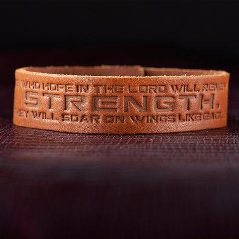 "Leather ""Strength"" Christian Wristband - Isaiah 40:31"