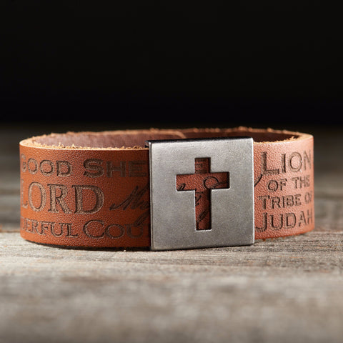 Leather Names of Jesus Christian Wristband w/ Metal Cross Slide