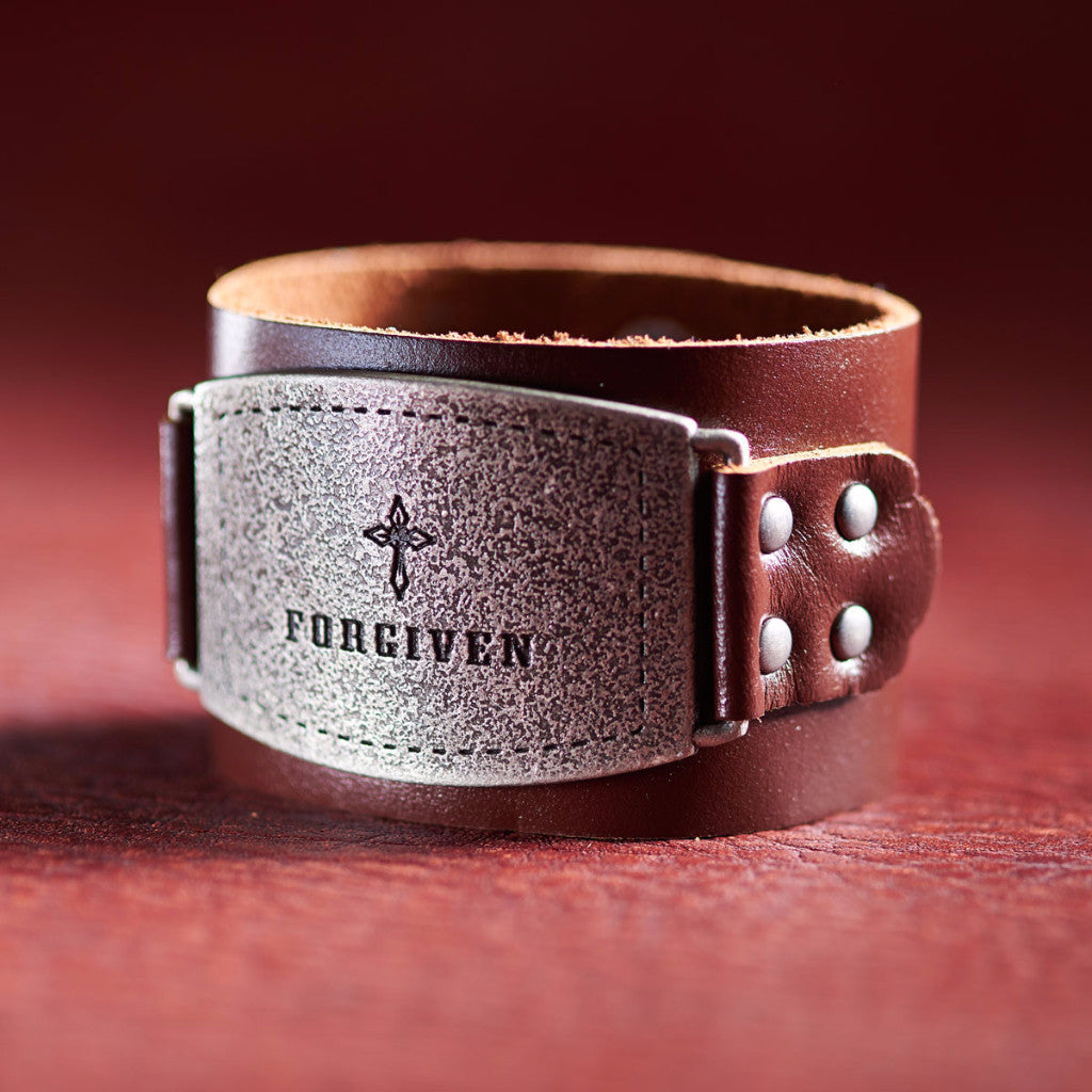 "Ladies Leather Christian Cuff Wristband w/ ""Forgiven"" Buckle"