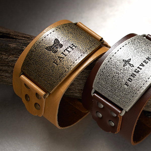 "Ladies Leather Christian Cuff Wristband w/ ""Faith"" Buckle"