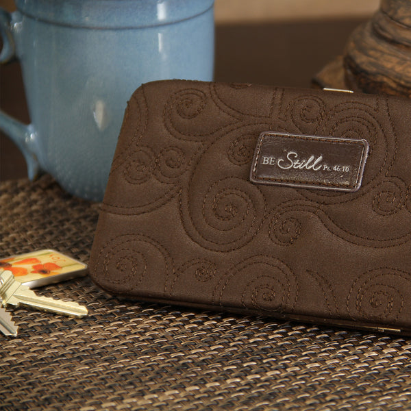 """Be Still"" Brown/Pink Microfiber Frame Wallet"