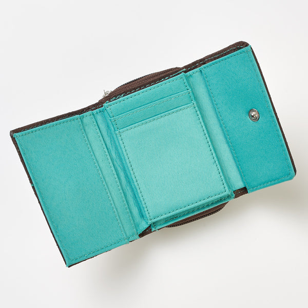 Brown/Teal Microfiber Wallet 1 Corinthians 13:4