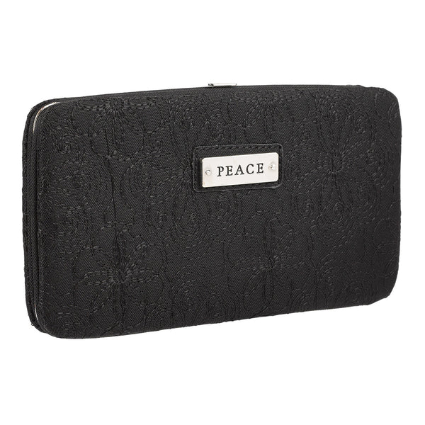 """Peace"" Black Embroidered Frame Wallet"