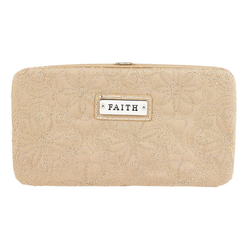 """Faith"" Tan Embroidered Frame Wallet"