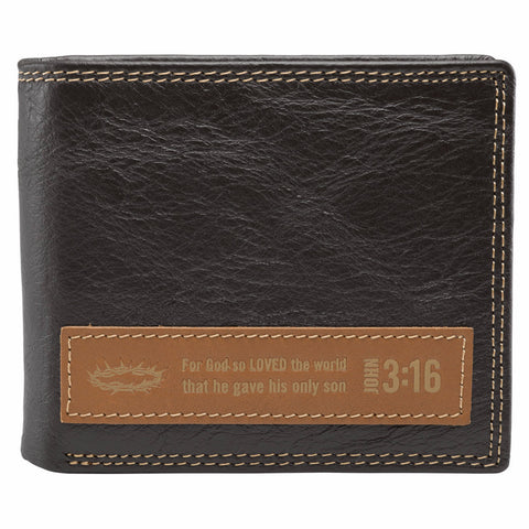 Dark Brown Genuine Leather Wallet w/ Applique - John 3:16