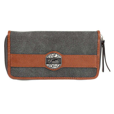 "Black & Tan Fashion Canvas Zippered Clutch Wallet Ensemble w/ ""Faith"" Badge"