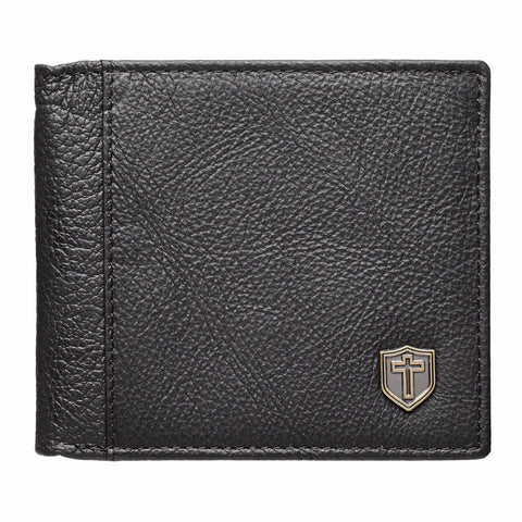 Leather Wallet w/ Cross Shield
