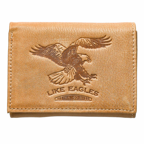 """Like Eagles"" Leather Wallet - Isaiah 40:31"