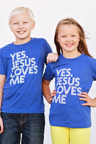 Yes Jesus Loves Me Blue Youth Tee