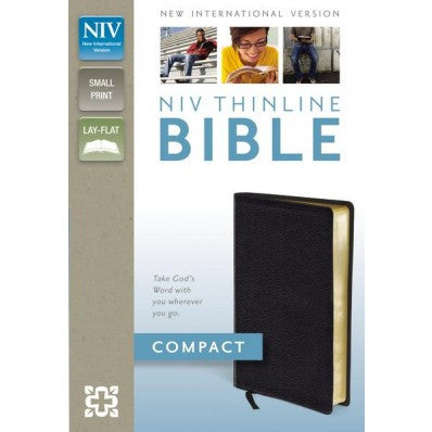 NIV, Thinline Bible, Compact, Black, Bonded Leather, Red Letter Edition