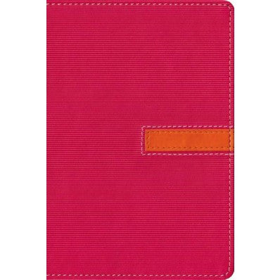 NIV, Thinline Bible, Compact, Imitation Leather, Pink/Orange, Red Letter Edition