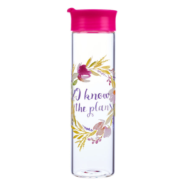 "Glass Water Bottle: ""I Know The Plans"" - Jeremiah 29:11"