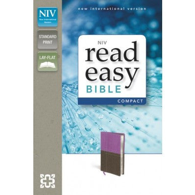 NIV, ReadEasy Bible, Compact, Imitation Leather, Dark Orchid/Brown, Red Letter Edition