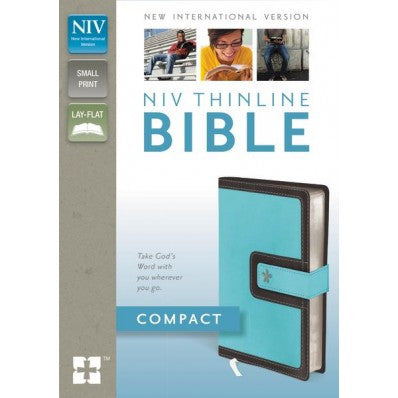 NIV, Thinline Bible, Compact, Imitation Leather, Blue/Brown, Red Letter Edition