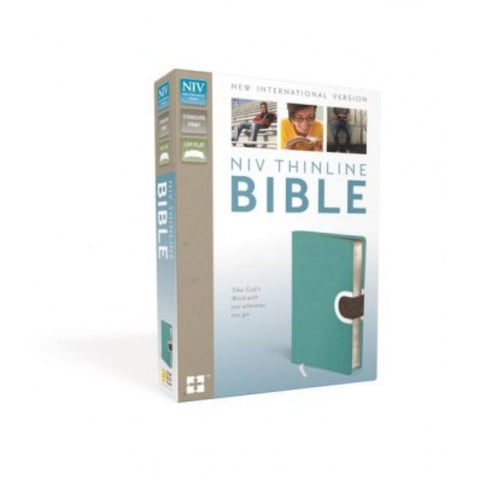 NIV, Thinline Bible, Imitation Leather, Turquoise/Brown, Red Letter Edition
