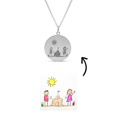 Necklace - Personalised Drawing Disc Necklace