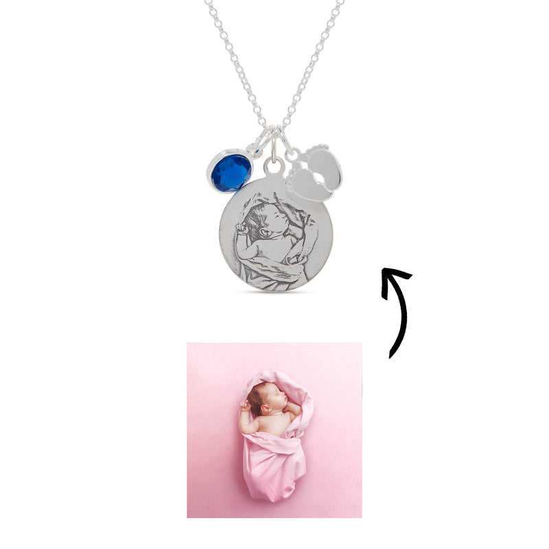 Photo Engraved Baby Feet Necklace