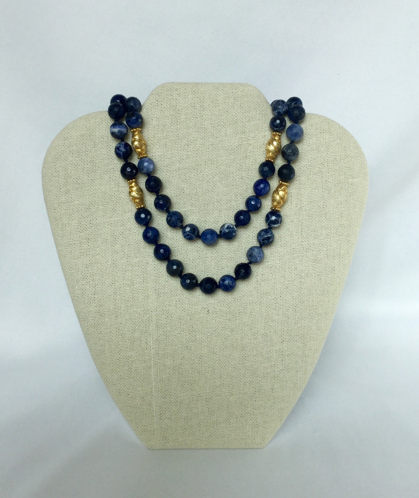 Faceted Sodalite and Bali Bead Gold Necklace – becca hill designs
