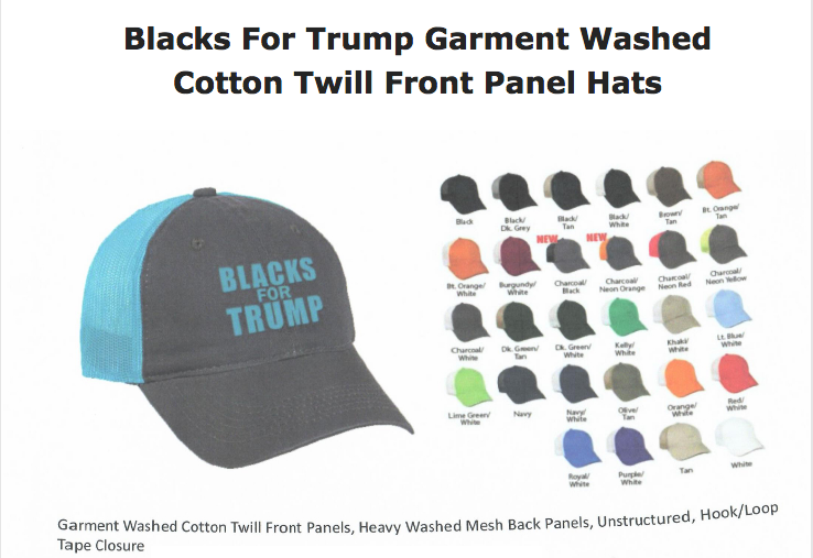 Blacks For Trump Garment Washed Cotton Twill Panel Hats