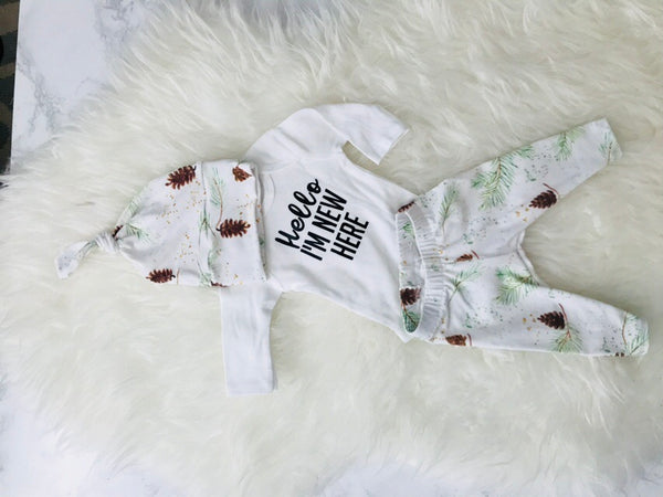 Pinecones Christmas newborn set
