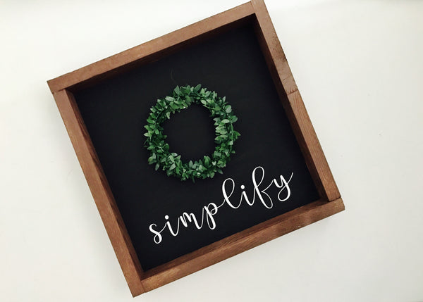 12x12Wreath wood sign with word
