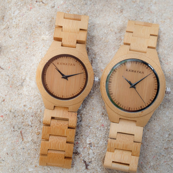 The Hickory All Bamboo Couple Watch