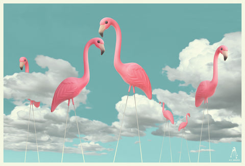 Ping Flamingoes in the Clouds