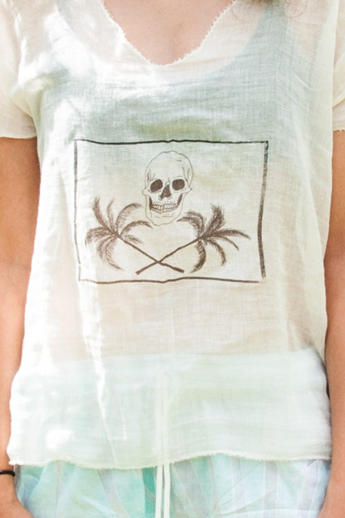 Cotton and linen blend shirt - Skull and Cross Palms