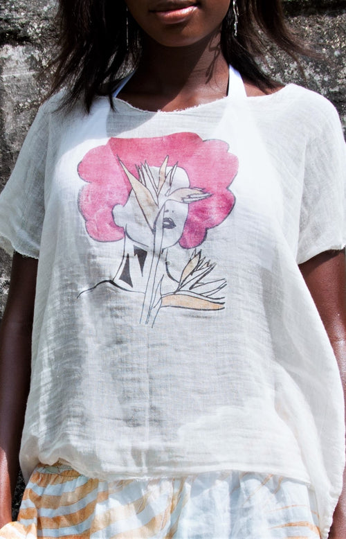 Cotton and linen blend shirt - Afro In Paradise