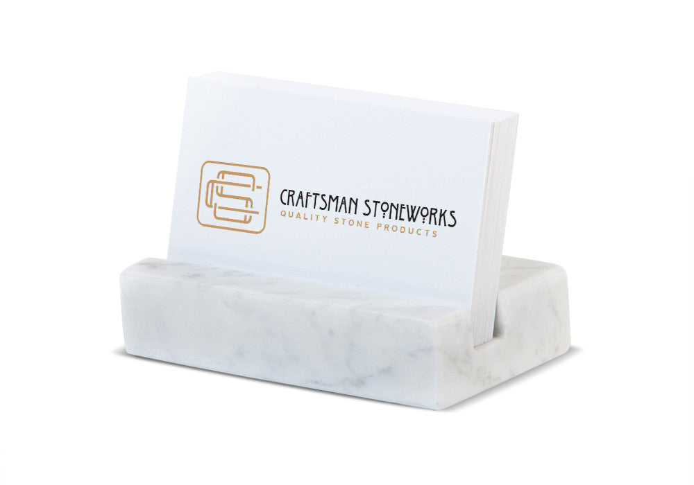 Business card holder white carrara marble