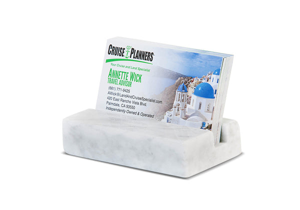 Business Card Holder - White Carrara Marble