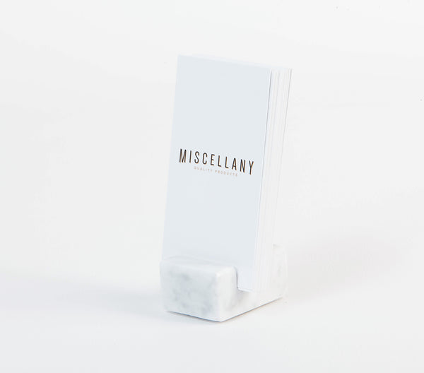 Vertical Business Card Holder - White Carrara Marble
