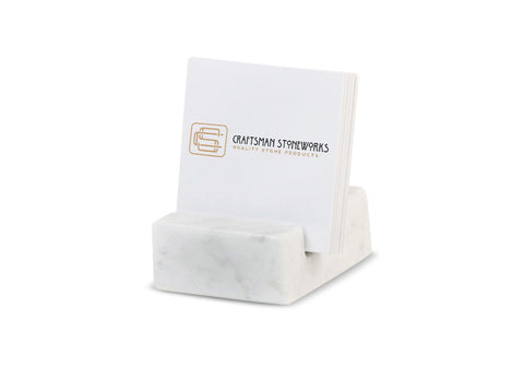 Square Business Card Holder - White Carrara Marble
