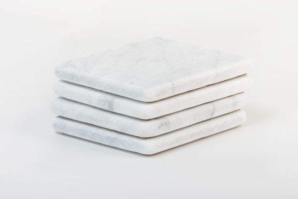 Marble Coasters – White Carrara Marble Stone Coasters Set of 4