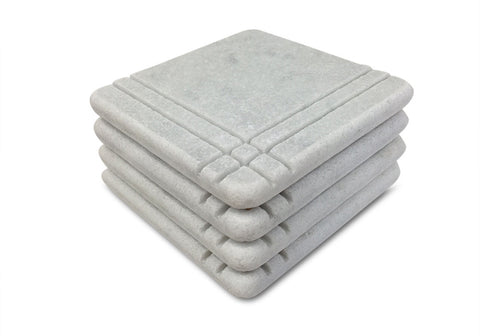 Craftsman Style Marble Coasters – White Carrara Marble Stone Coasters, Set of 4, Design A