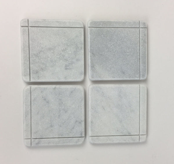 Craftsman Style Marble Coasters – White Carrara Marble Stone Coasters, Set of 4, Design C
