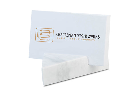 Geometric Business Card Holder - White Carrara Marble Triangle