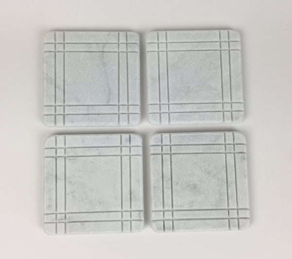 Bungalow Style Marble Coasters – White Carrara Marble Stone Coasters, Set of 4, Design B